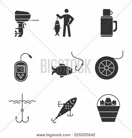 Fishing glyph icons set. Outboard boat motor, fisherman, thermos, echo sounder, fishhook, fishing line spool, lure, bucket with catch. Silhouette symbols. Vector isolated illustration stock photo