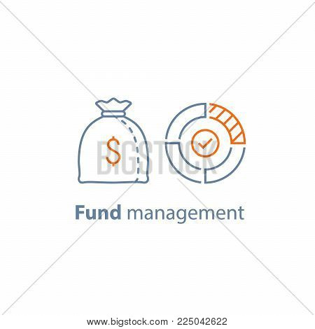 Mutual fund management, long term investment, financial strategy, corporate finance, income growth, dividend payment, performance analysis, money bag, budget expenses, vector line icon thin stroke stock photo