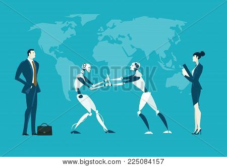 RPA Robotic progress automatisation concept illustration. Humans vs Robots. Human and robot fighting for the managing position stock photo