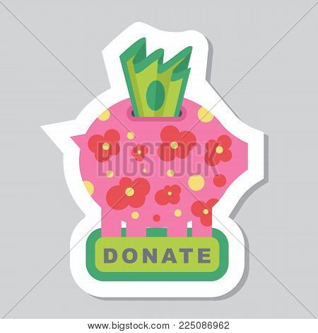Donate button with piggy bank, flowers and dollar sign. Help red green sticker. Gift charity. Isolated support design. Contribute, contribution, give money, giving symbol. Vector illustration stock photo