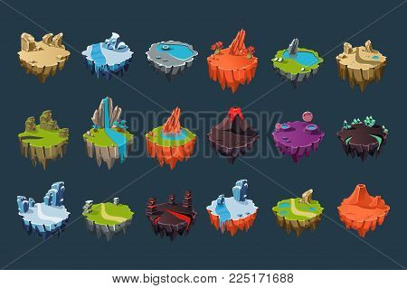 Cartoon set of stone isometric islands with volcanoes, lakes, waterfalls, glaciers, craters, crystals and rocks. Colorful elements for fantasy computer or mobile game. Isolated flat vector design. stock photo