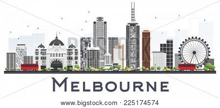 Melbourne Australia City Skyline with Gray Buildings Isolated on White Background. Business Travel and Tourism Concept with Modern Buildings. Melbourne Cityscape with Landmarks. stock photo