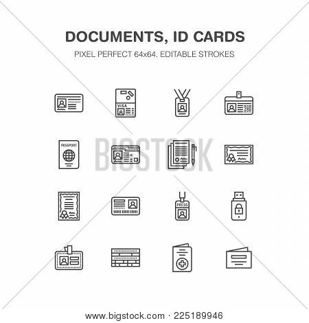 Documents, identity vector flat line icons. ID cards, passport, press access student pass, visa, migration certificate, token legal contract illustration. Notarial office signs. Pixel perfect 64x64. stock photo