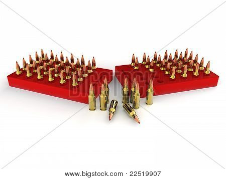 Bullets in red ammo trays. Good for military, guns and ammunition concept stock photo