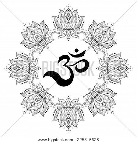 Circular pattern in the form of a mandala. OM decorative symbol. Mehndi style. Decorative pattern in oriental style with the ancient Hindu mantra OM. Henna tattoo pattern in Indian style. stock photo