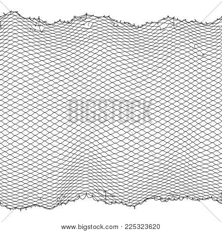 Black fisherman rope net vector seamless texture isolated on white. Fisherman netting for hunting, fiber surface illustration stock photo