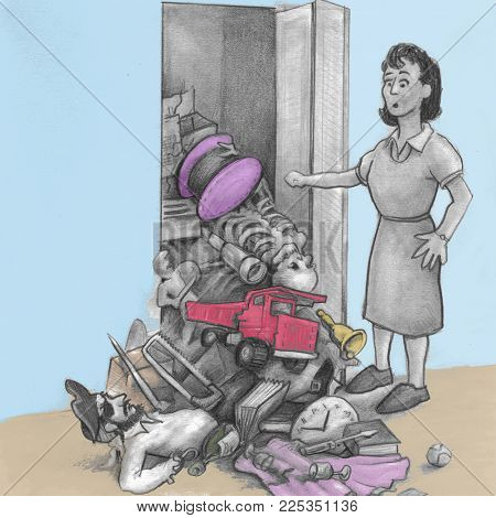 One mature woman opened a closet door and all her junk fell out and onto the floor. An illustrated  female finds a pile of things fell onto the floor from her closet. stock photo