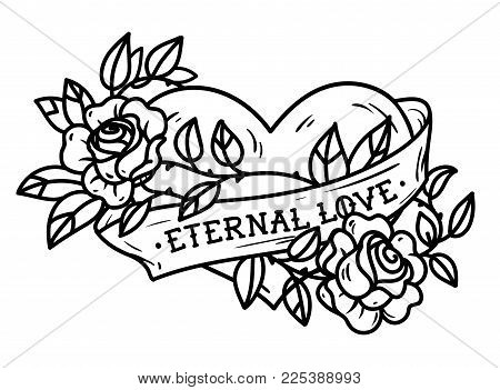 Heart entwined in climbing rose tattoo. Heart entwined in ribbon. Tattoo heart with ribbon and roses. Old school styled. Ribbon with lettering Eternal love. Forever love. Black and white tattoo stock photo