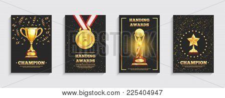 Championship Winner Trophy Gold Medal Award Symbol  4 Realistic Festive Black Background Posters Col