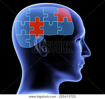 Memory loss. Human profile and brain in the form of the puzzle with two pieces of red color. On black background. 3d render stock photo