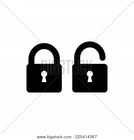 Lock Icon. Security Padlock - Locked And Unlocked Icons. Simple Sign In Flat Style Isolated On White