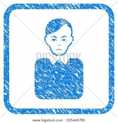 Bureaucrat rubber seal stamp imitation. Icon vector symbol with grunge design and corrosion texture inside rounded square frame. Scratched blue stamp imitation on a white background. stock photo
