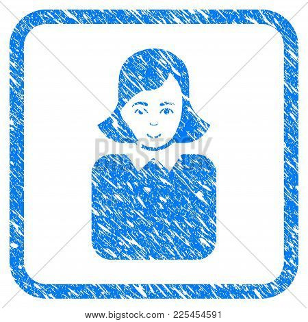 Bureaucrat Woman rubber seal stamp watermark. Icon vector symbol with grunge design and unclean texture in rounded square. Scratched blue sign on a white background. stock photo