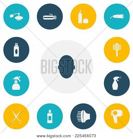 Set of 13 editable hairdresser icons. Includes symbols such as equipment, glass spray, hair desiccative machine and more. Can be used for web, mobile, UI and infographic design. stock photo