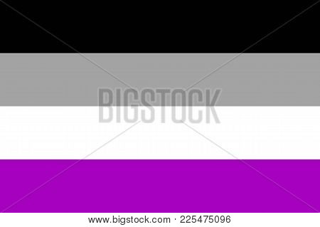 International asexual flag, people movement, flat icon. Canvas for all who abandoned sex life, not experiencing attraction and so on. Vector illustration of a colorful element stock photo