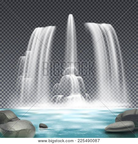 Cascade Fountain Waterworks Realistic Architectural Element Design With Stones And Waterfall On Dark