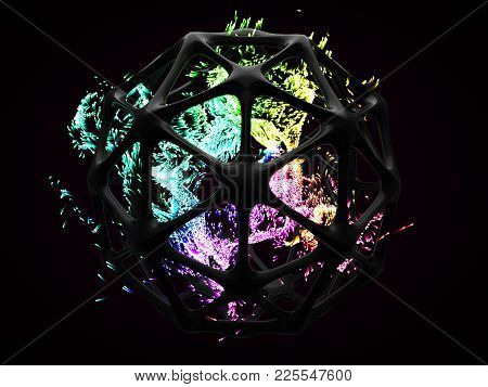 concept of energy particles into artifactial black cage. suitable for any concept about, technology, power, spiritual, core, magic and lot of other themes. 3d illustration stock photo