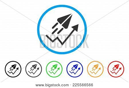 Ton Launch Trend Arrow rounded icon. Style is a flat grey symbol inside light blue circle with additional colored variants. Ton Launch Trend Arrow vector designed for web and software interfaces. stock photo