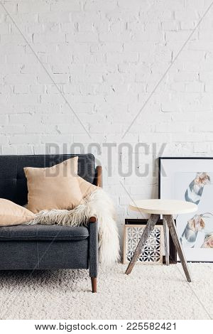 modern living room interior with comfy couch, mockup concept stock photo
