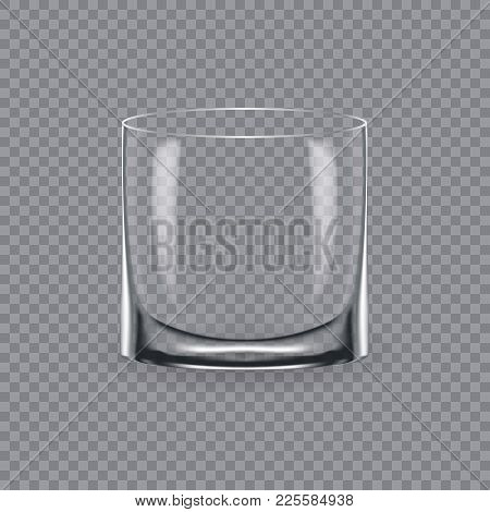 Realistic template of an empty transparent alcohol glass and mug. Template, glass package, mockup, layout, breadboard, empty glass, mugs, for drink whiskey. Vector illustration isolated. stock photo