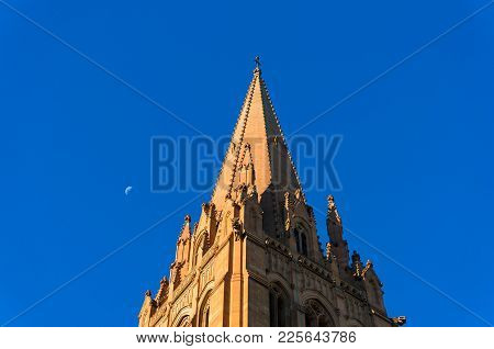St. Pauls cathedral against clear blue sky on the background. Melbourne, Australia stock photo