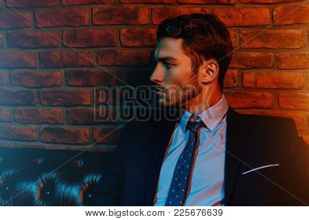 Respectable handsome man in elegant suit sitting in apartments with classical luxurious interior. Me