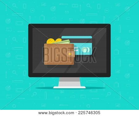 Electronic wallet on computer vector illustration icon, flat cartoon design desktop pc screen with digital wallet and credit card, internet banking concept, wireless money transfer, internet cash stock photo