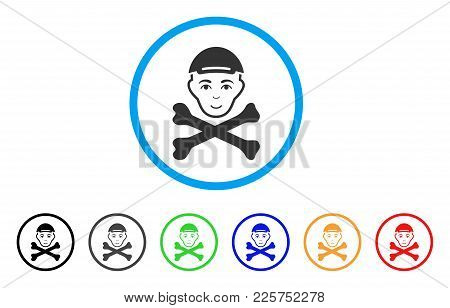 Mortal Boy Head rounded icon. Style is a flat mortal boy head gray symbol inside light blue circle with black, gray, green, blue, red, orange versions. Cheerful mortal boy head vector pictogram. stock photo