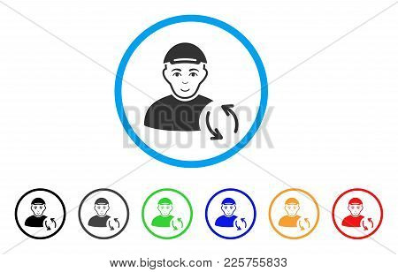 Refresh User rounded icon. Style is a flat refresh user grey symbol inside light blue circle with black, gray, green, blue, red, orange color versions. Glad refresh user vector icon. stock photo