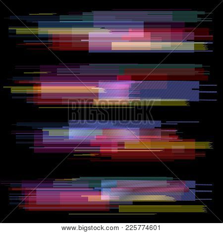 Glitch elements set. Digital pixel noise color abstract design. Video game glitch. Glitches collection. Grunge background stock photo