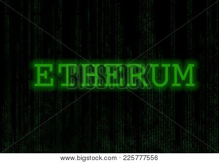 Binary code black and green background with digits on screen Concept of digital age. Etherum. Blockchain. stock photo