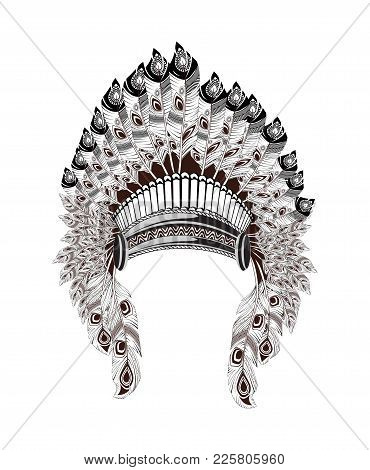 North American Indian headdress. Vector illustration. Native american headdress of feathers and traditional pattern around stock photo