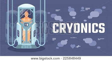 Futuristic cryogenic capsules or containers with humans on spaceship or space shuttle science stock photo