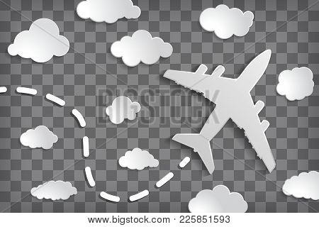 paper airplane with clouds on a chequered air background.  Chequered sky travel background. stock photo
