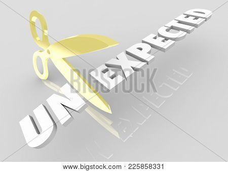 Unexpected Scissors Cutting Word Be Prepared 3d Illustration stock photo