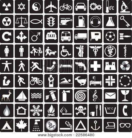 81 black and white icons, symbols collection stock photo