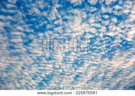 Full Frame Background, beautiful receding altocumulus cloud formation. stock photo