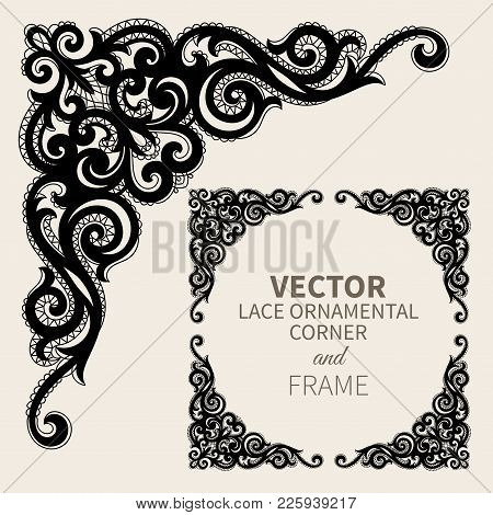 Floral frame border. Decorative lace design element and fancy page ornament. Vector illustration stock photo