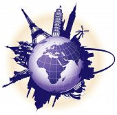 Travel foundation. All components and surfaces are individual items. Vector outline scale to a