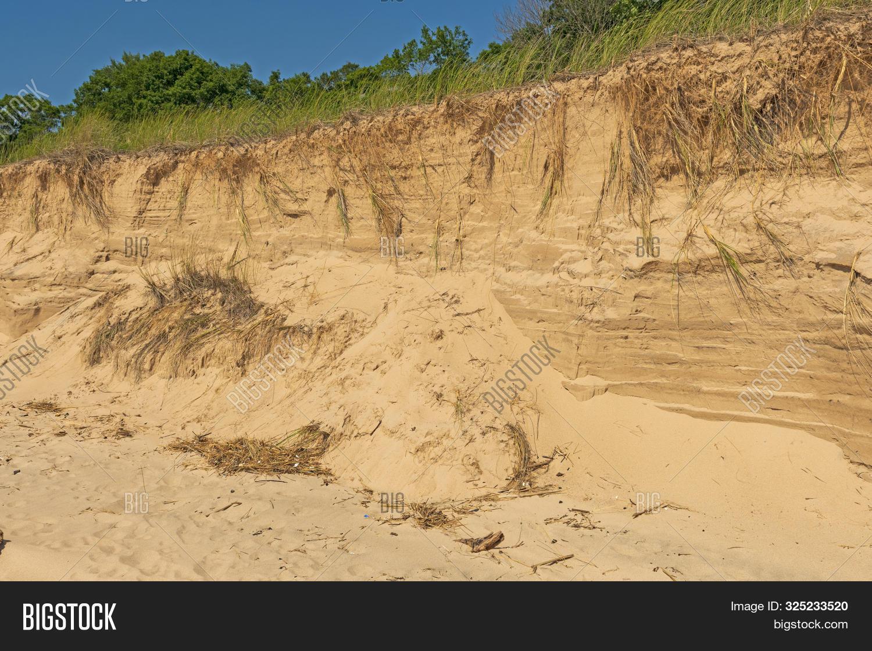 Beach Erosion On A Lake Michigan Shore Near Montague,. Michigan