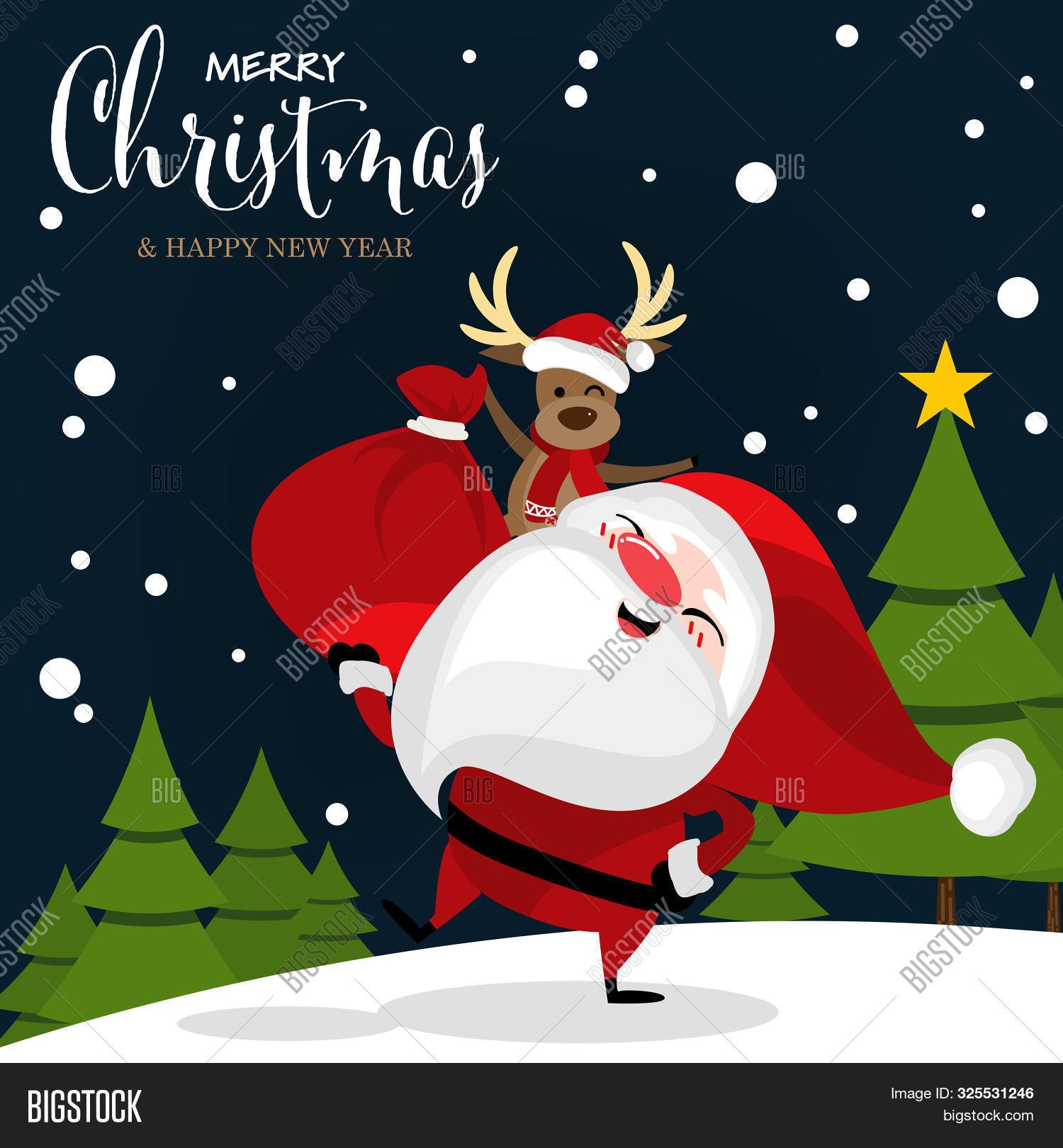 Christmas Cartoon Of Santa Claus, Reindeer, Christmas Tree On Snow Hill And Merry Christmas Text. Cu