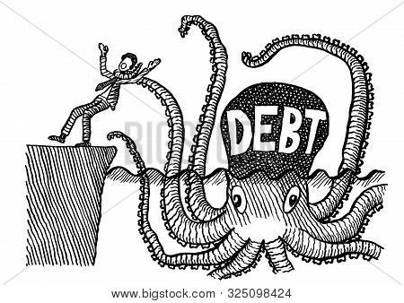 Freehand pen drawing of business man being choked by one arm of a giant octopus representing DEBT. Metaphor for economic crisis, growing deficit, inhibition, financial burden, entrepreneurial risk. stock photo