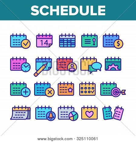 Schedule Collection Elements Icons Set Vector Thin Line. Calendar With Clock And Human, Heart And Bell, Dollar And Gear Mark Schedule Concept Linear Pictograms. Monochrome Contour Illustrations stock photo