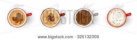Different types of tasty coffee, assortment americano, cappuccino, espresso, flat white, irish, latte, long black, macchiato, mochaccino, vienna Top view Vector cartoon set isolated on white stock photo