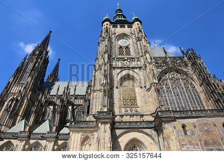 Saint Vitus Cathedral in Prague in Czech Republic in Central Europe and blue sky stock photo