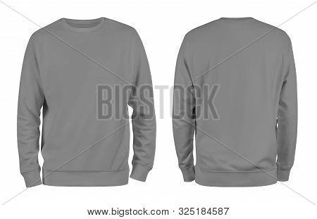 Men grey blank sweatshirt template,from two sides, natural shape on invisible mannequin, for your design mockup for print, isolated on white background. stock photo