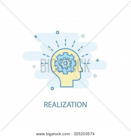 realization line concept. Simple line icon, colored illustration. realization symbol flat design. Can be used for stock photo