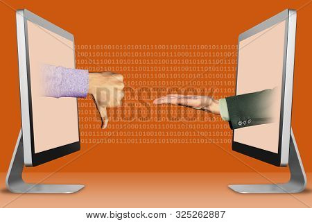 technology concept, hands from computers. thumbs down, dislike and pleading gesture . 3d illustration stock photo