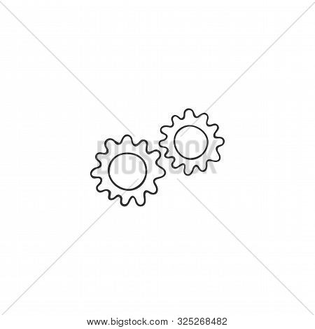 Vector hand drawn icon. Gears silhouette, clever mechanism concept. Housekeeping and home repairs theme. stock photo