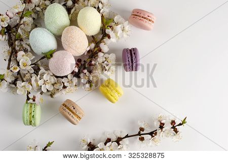 Decorative Easter eggs and sweet macarons or macaroons decorated with blooming apricot flowers on white background. Copy space. Greeting card concept stock photo
